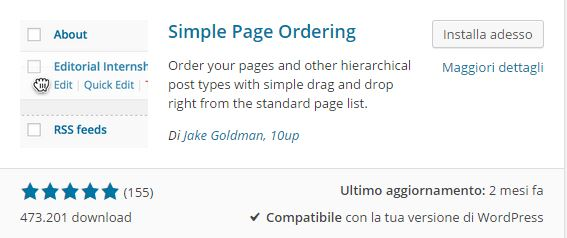 Plugin WordPress - Simple Page Ordering