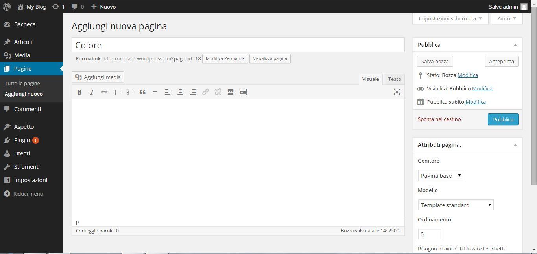 Guida WordPress - gestione pagine
