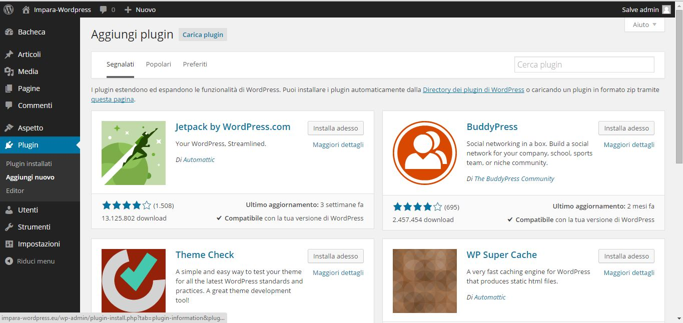 Guida WordPress - plugin