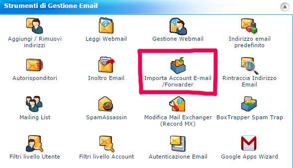 cPanel - come posso importare il mio indirizzo mail