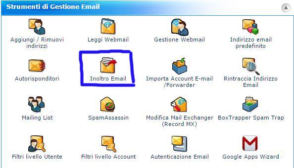 cPanel - come posso inoltrare le mail
